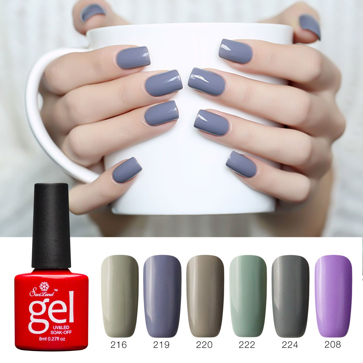 Soak off Gel Nail Polish Sets, Saviland 6 Pcs Nail Varnish Set DIY Nail Art Starter Kit 8ml(Grey Purple Brown)