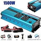 1500 Watt Power Inverter Dual 12V DC to 110V AC 2 Outlets 4 USB Ports with Cigarette Lighter Plug Cord and Battery Clamps Newest Design Digital Display, 2 Year Warranty