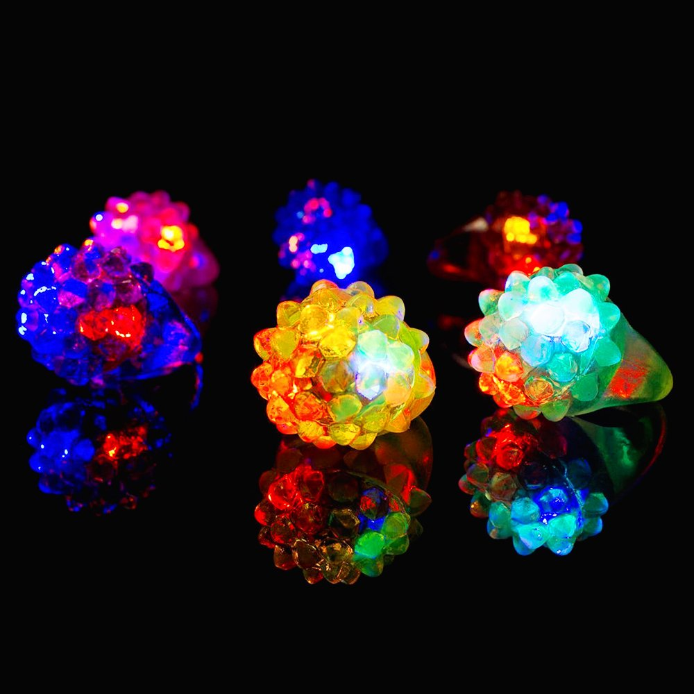 Novelty Place Party Stars Flashing LED Bumpy Jelly Ring Light-Up Toys (24 Pack) by Novelty Place (Image #2)