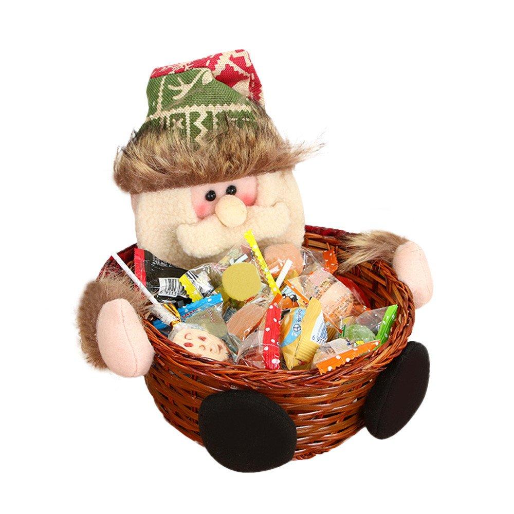 CLOOM Weihnachten Süßigkeiten Box Christmas Candy Basket Ablagekorb Dekoration Weihnachten Bambus Korb, Santa Candy Korb, Desktop Aufbewahrungsbox, Geschenkkorb, Weihnachtsdekoration (C) ⚓CLOOM