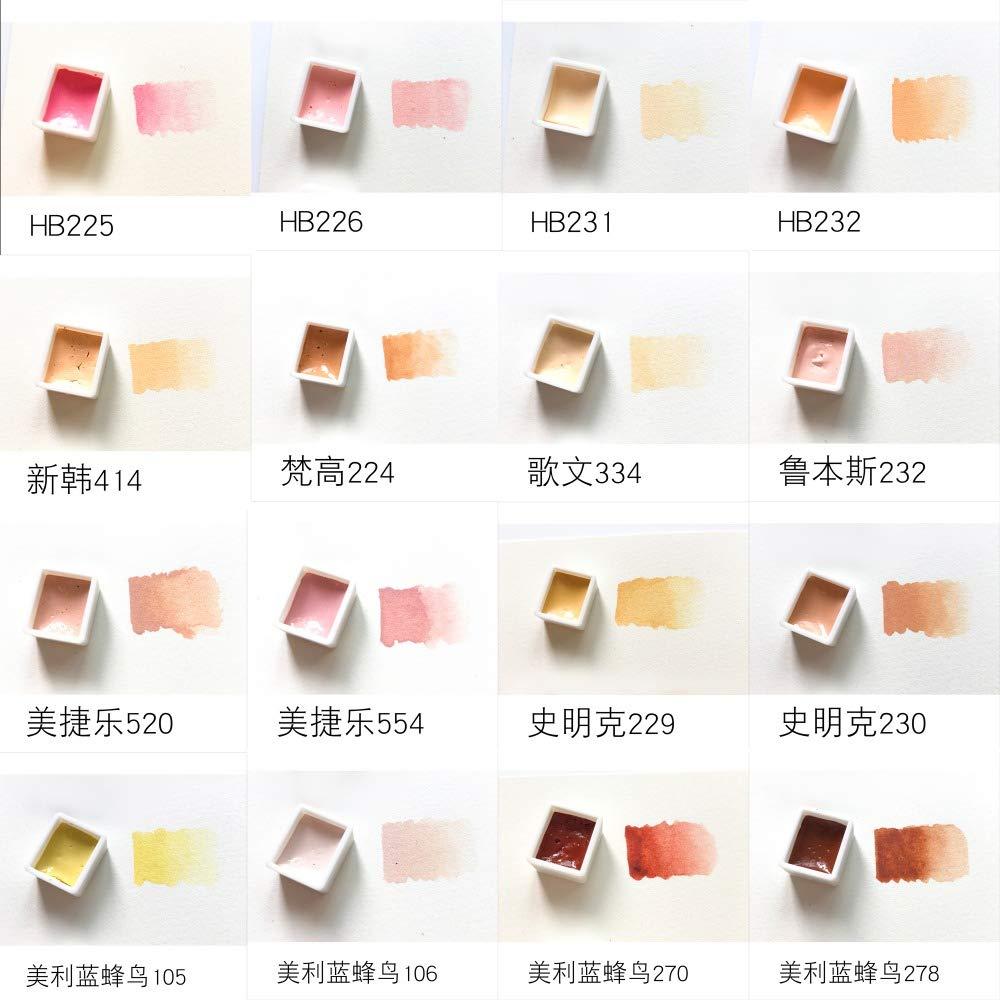 Autumn Water Paint Color Portrait Figure Skin Color/Flesh Watercolor Color Test Murray Blue Dispensing Plate