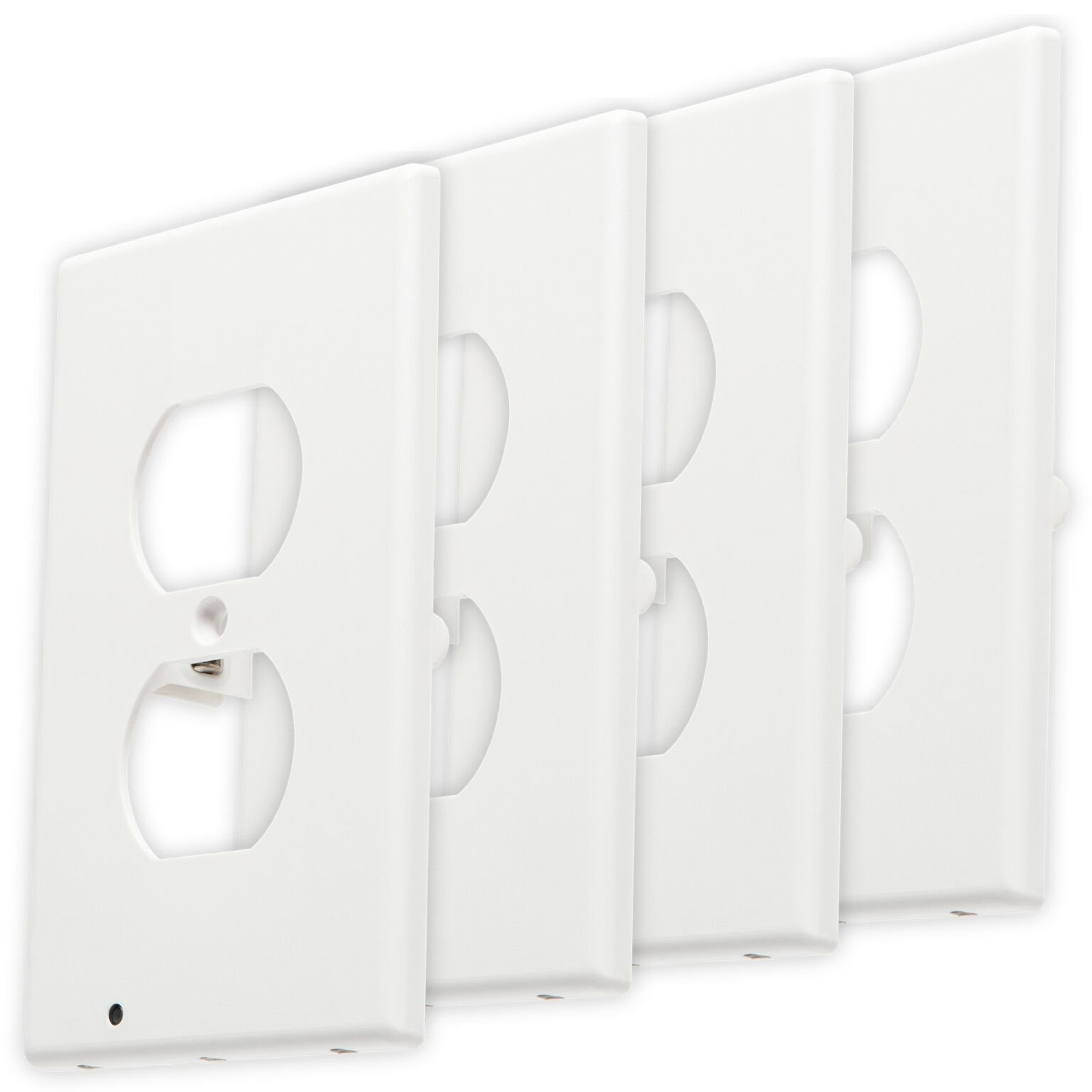 FanFav Elements Premium LED Night Light Outlet Covers - No Batteries or Wires - (Duplex 4 Pack) - White Plastic Wall Plate Guidelight