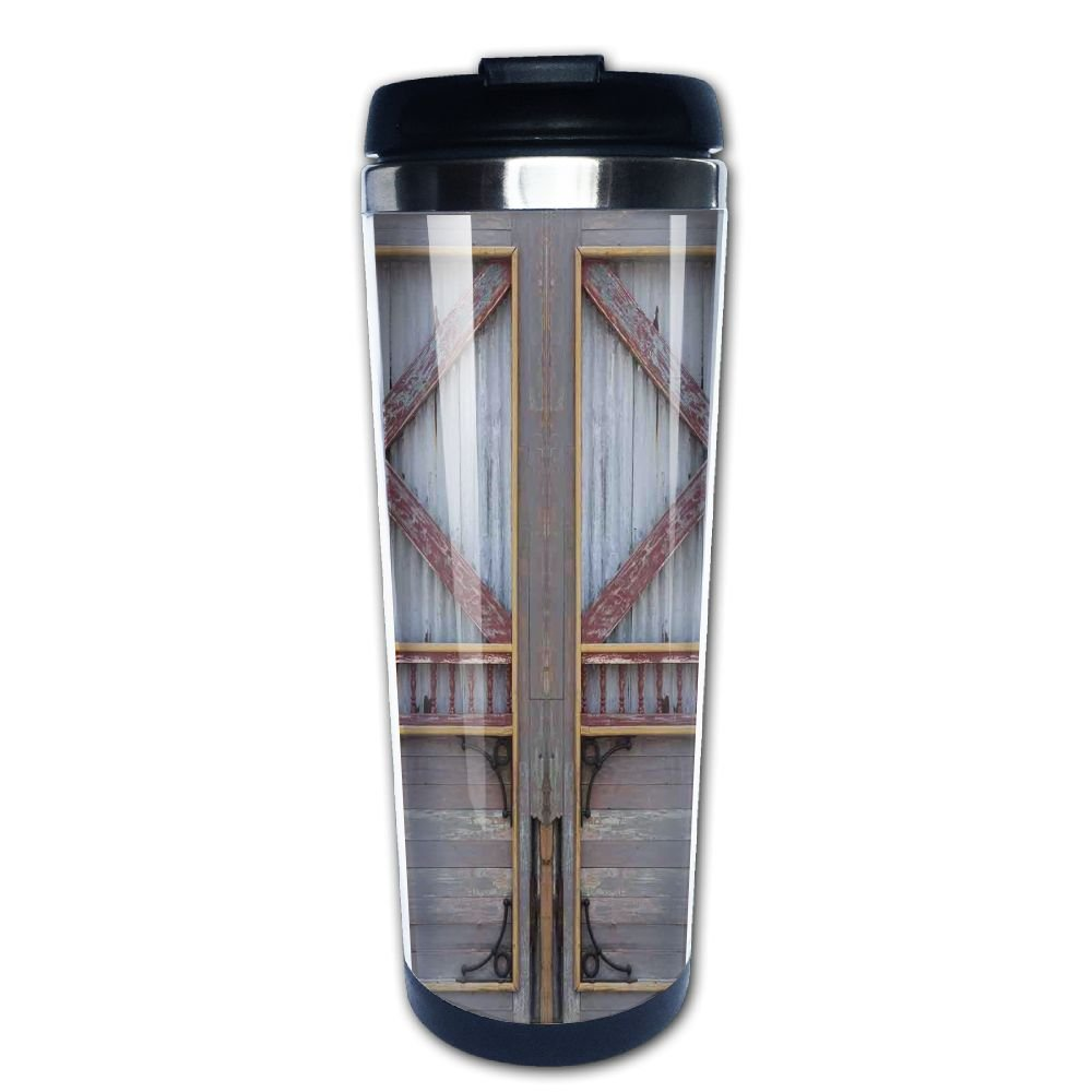 AILIKAFEE Zinc Style Wooden Gate Image Street Construction Window Covered With Plank Coffe Mug Thermal Stein With Easy Clean Lid 14-Ounce Mug