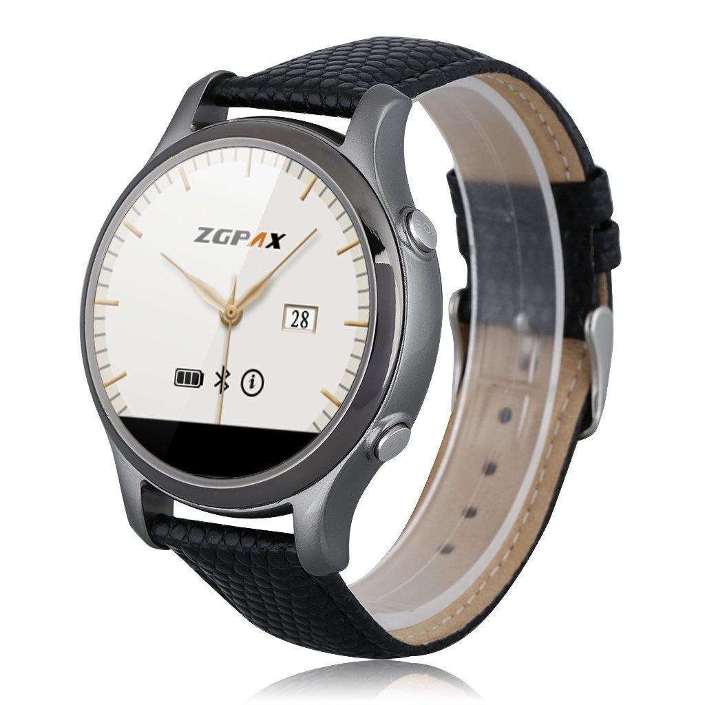 Zgpax - Smartwatch Reloj de Pulsera Bluetooth V4.0 Redondo (Correa Adjustable de Cuero, Smartphone Androis IOS), Negro
