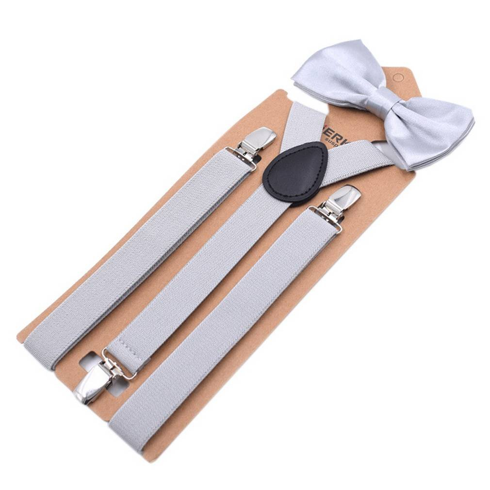 COMVIP Adult Party Clips Y-back Heavy Duty Suspenders with Bowtie Set