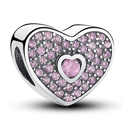 Everbling Sweetheart with Fancy Pink CZ 925 Sterling Silver Bead Fits European Charm Bracelet ()