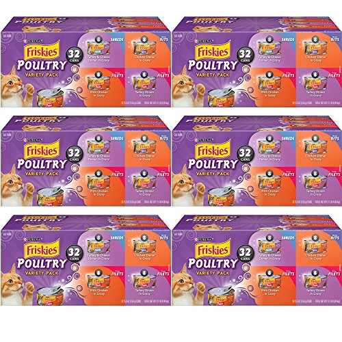 .Purina Friskies. Poultry Variety Pack Cat Food – (32) Box, 6-Pack