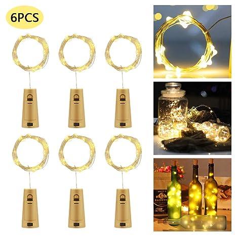Luces de botella con corcho, 2M 20 luces de cadena LED con decoración de vidrio de botella de vino para decoraciones de mesa de boda de cumpleaños de ...