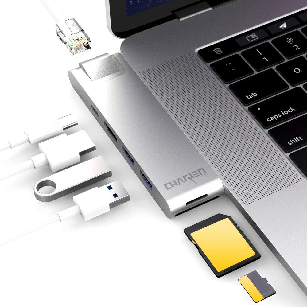 """CharJenPro USB C Hub for MacBook Pro 16"""", 15"""", 13"""", 2020, 2019, 2018, MacBook Air 2020, 2019, 2018, 100W Power, HDMI 4K, 2 USB 3.0, microSD, SD Card Reader, USB C Port. USBC Adapter."""