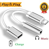 Lightning to 3.5mm Adapter 2 In 1 Adaptor for iPhone X 10 8/8 Plus 7/7 Plus iPod iPad Connector AUX Converter Earphone Adaptor Accessories Headphone Cable Splitter Accessories Metal Audio Jack Headphone Cable Earbud Adapter Support iOS 10.3 or11 Later (Silver)