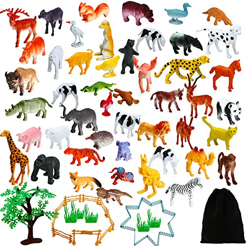 (Aneco 82 Pieces Animals Figures Mini Jungle Animals Toys Set Realistic Looking Animals with Fence and Velvet Storage Bag for Kids)