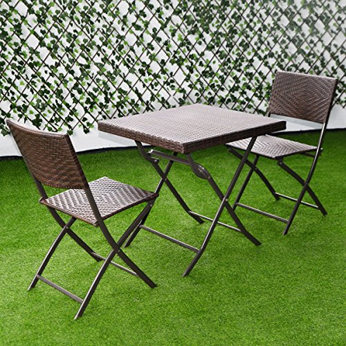 Giantex 3 PC Outdoor Folding Table Chair Furniture Set Rattan Wicker Bistro P