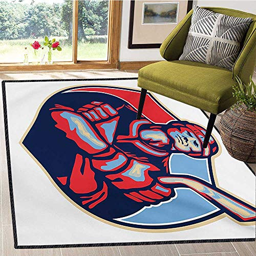 Hockey, Kids Carpet Playmat Rug, Illustration of an Ice Hockey Player Holding Stick in Retro Style, Girls Rooms Kids Rooms Nursery Decor Mats 6x9 Ft Navy and Pale Blue Dark Coral