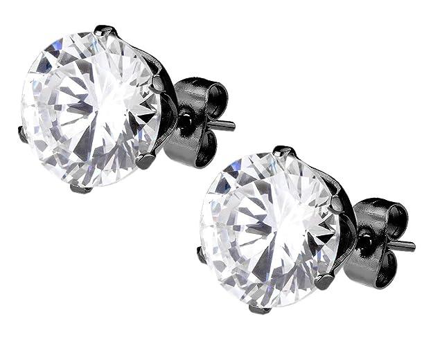4. CZ Black Diamond IP Plated Surgical Steel Stud Earrings for Men