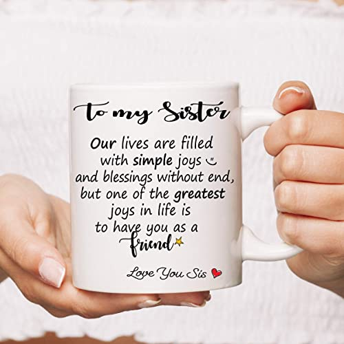 To My Sister Mug Sisters Gift For Her National Day Siblings Gifts Birthday Christmas Present Sis Family Tea Coffee 11oz