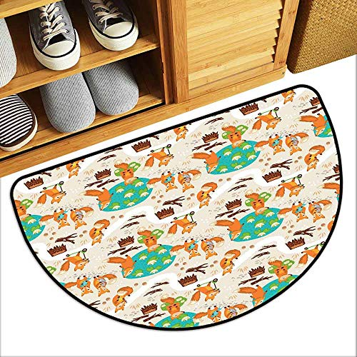 (DILITECK Outdoor Door mat Baby Cute Little Foxes Playing Next to Ponds Forest Tree Trunks Catching Fish Having Fun Easy to Clean Carpet W31 xL20 Multicolor)