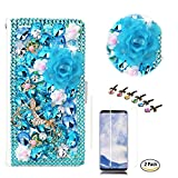 STENES iPhone 8 Plus Case, iPhone 7 Plus Case - Stylish - 3D Handmade Crystal Dance Butterfly Rose Flowers Wallet Credit Card Slots Fold Media Stand Leather Cover with Screen Protector - Light Blue