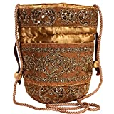 Purpledip Potli Bag (Clutch, Drawstring Purse) For Women With Intricate Gold Thread & Sequin Embroidery Work, Golden (10238)