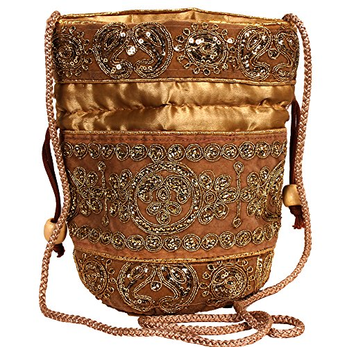 - Purpledip Potli Bag (Clutch, Drawstring Purse) For Women With Intricate Gold Thread & Sequin Embroidery Work, Golden (10238)
