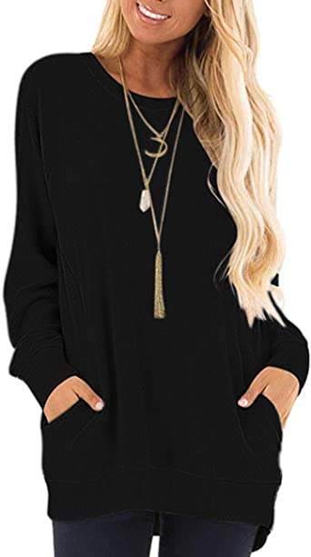EDC Womens Tunic Tops with Pockets for Leggings Sequin Deer Gradient Long Sleeve Crewneck Blouse Shirts Plus Size .S-5XL