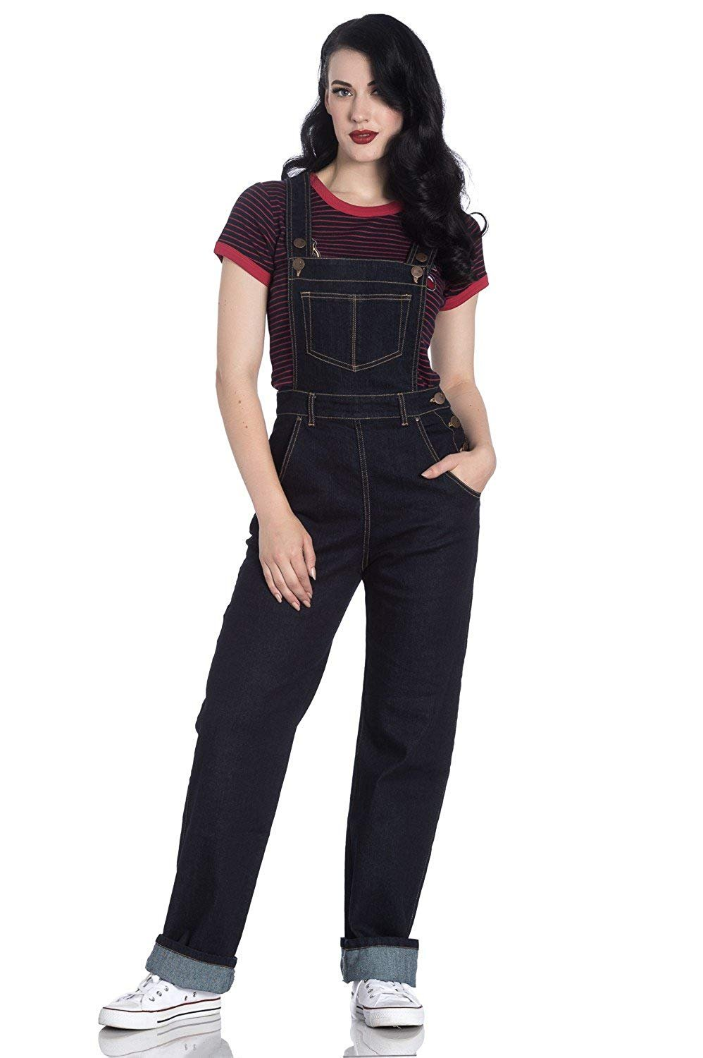 Hell Bunny Elly May Denim Jeans Landgirl 40s 50s Retro Rockabilly Dungarees