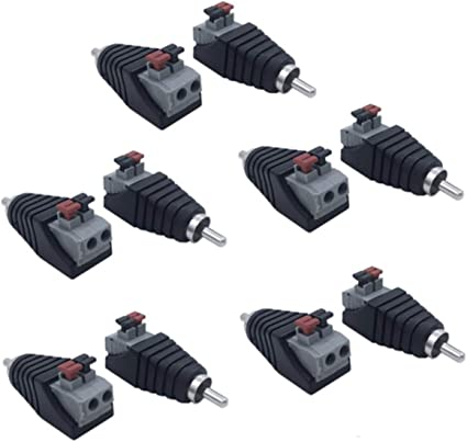 Lollipop Speaker Wire Cable to Audio Male RCA Connector Adapter Jack Plug 10pcs//set