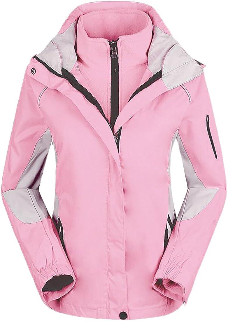 lovever Womens Double Zipper Solid Color Outdoor Rain Detachable 2 Piece Jacket
