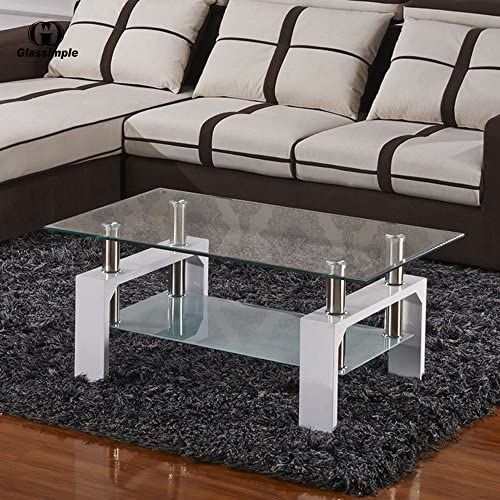 home, kitchen, furniture, living room furniture, tables,  coffee tables 5 on sale SUNCOO Coffee Table Glass Top with Shelves Home deals