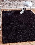 Unique Loom Solid Shag Collection Jet Black 5 x 8 Area Rug (5' x 8')