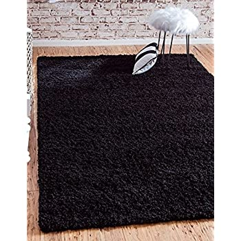 Unique Loom Solid Shag Collection Jet Black 8 x 11 Area Rug (8' x 11')