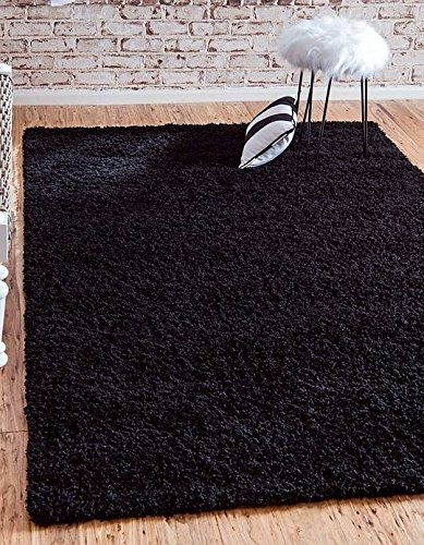 7 Black Area Rug (Unique Loom Solid Shag Collection Jet Black 7 x 10 Area Rug (7' x 10'))