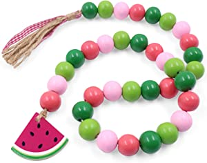 Huray Rayho Farmhouse Watermelon Decor Summer Fruit Wood Bead Garland Natural Wood Bead Strings Rustic Tiered Tray Decor Home Kitchen Rae Dunn Canisters Decorations