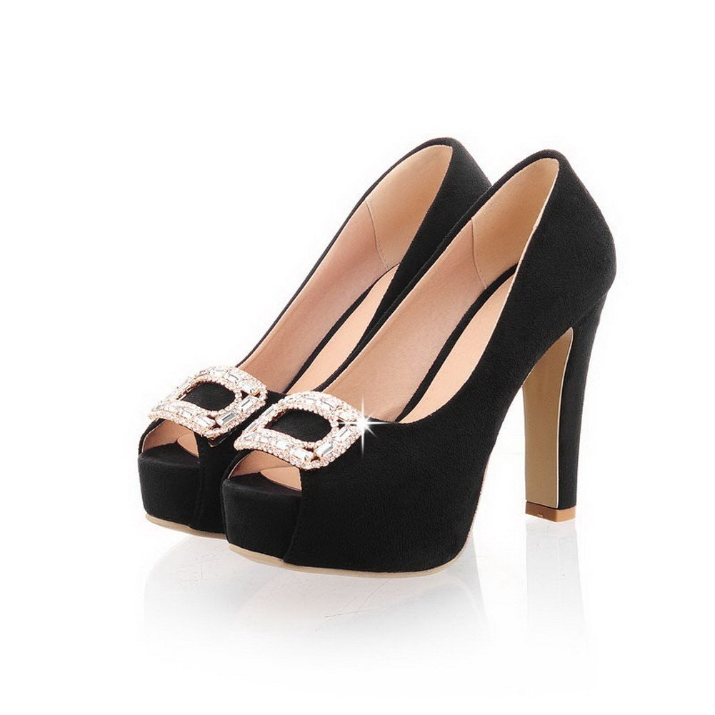 VogueZone009 Womens Open Toe High Heel Platform Chunky Heels PU Frosted Solid Pumps with Glass Diamond, Black, 3 B(M) US