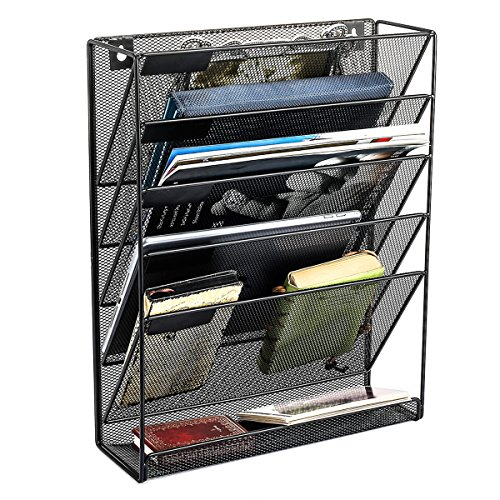 SamStar Hanging Wall File Organizer - 5 Slot Mesh Metal Wall Mounted Document Holder for Office Home - Black