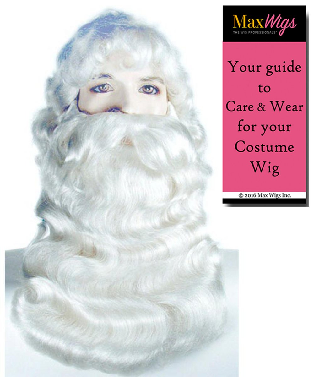 Santa 002 Super Deluxe Set Color White - Lacey Wigs Men's Claus 18'' Long Beard Mustache Synthetic Skin Top Kris Kringle Full Backing Christmas Bundle With MaxWigs Costume Wig Care Guide
