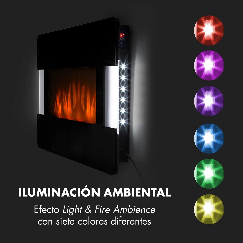Klarstein Belfort Light /& Fire White Edition Chimenea el/éctrica Programable una semana Mando a Distancia Blanco Termostato ajustable 2 potencias: 1000 /ó 2000 W Montaje en pared Efecto llama