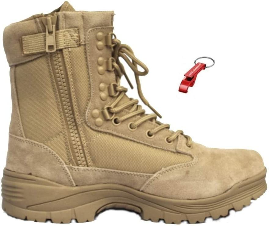 AOS-Outdoor Tactical Boot mit YKK-Zipper Schl/üsselanh/änger 3 Farben Desert braun oder schwarz Wanderstiefel
