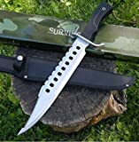 "NEW! 17"" Tactical Hunting Rambo Full Tang Fixed Blade Knife Machete Bowie w/ Sheath"