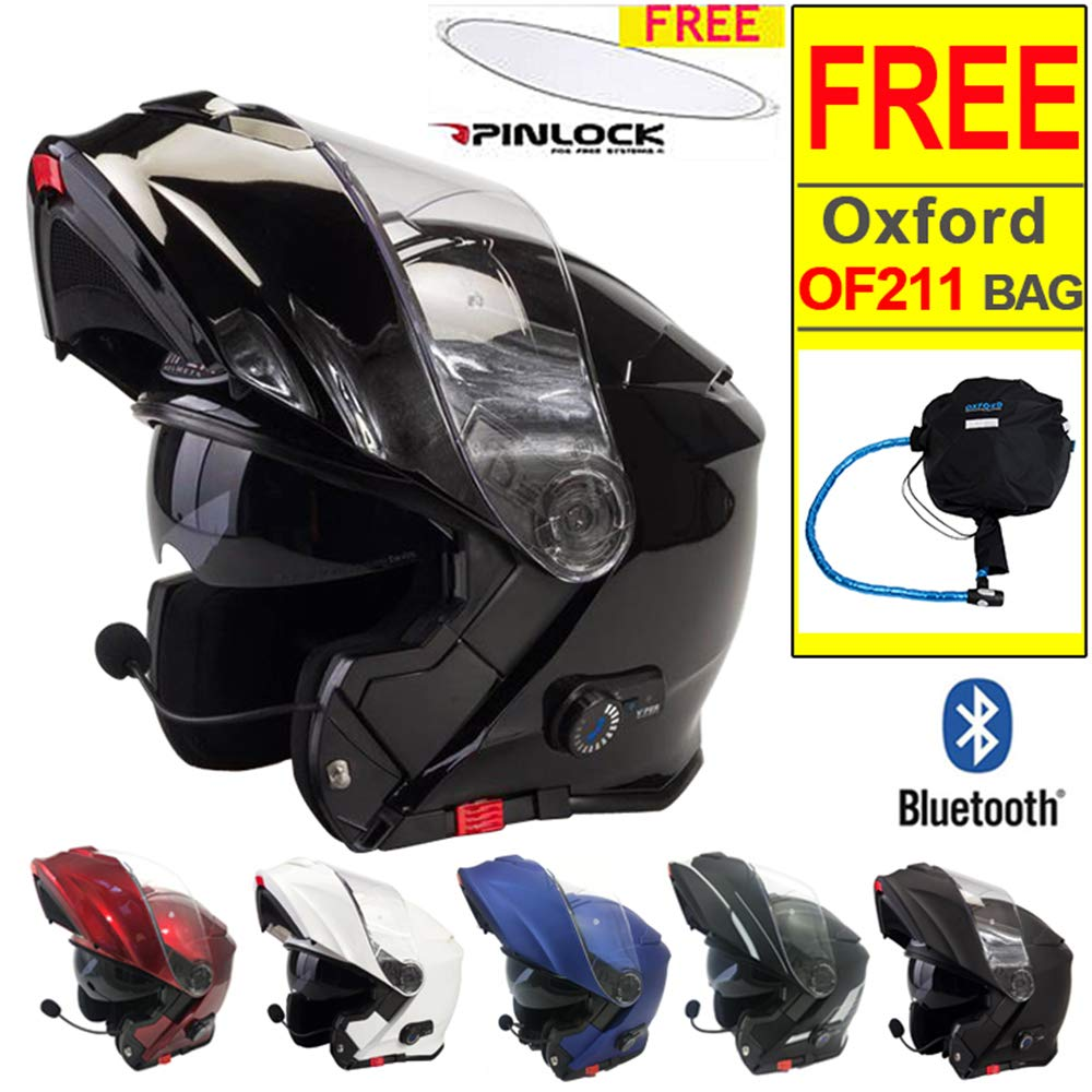 Viper RS-V171 Bluetooth Flip up Front Motorbike Motorcycle Helmet - Matt Black Fosh M (57-58cm) + Free OX624 Oxford Lockable Helmet Bag
