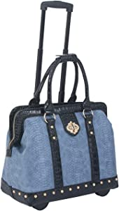 JKM and Company Blue Black Rolling Compatible With Computer iPad Tablet or Laptop Tote Doctor Style Bag