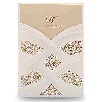 Amazon.com: Doris Home Vertical Laser Cut White Hollow Flora Wedding ...