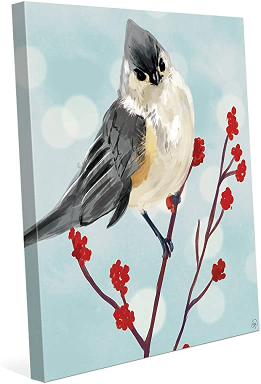 Amazon Com Tufted Titmouse Painting On Blue Wall Art Print On Canvas Posters Prints