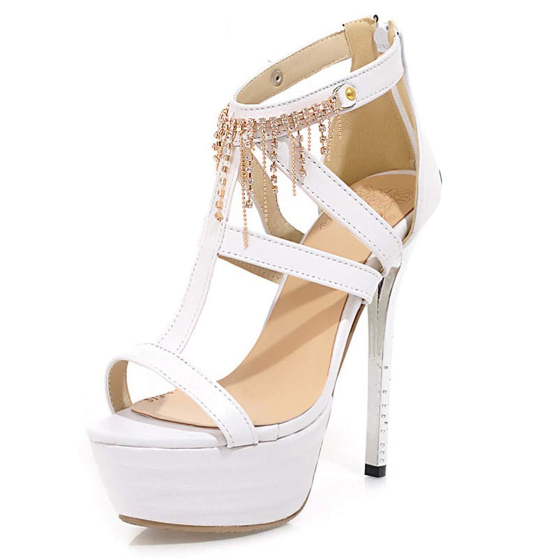 White Stiletto Sandals Sexy Platform shoes Nightclub Party Dance shoes