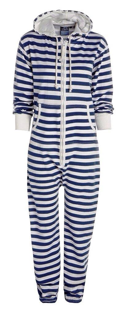 ASBAHFASHION New Unisex Ladies Stripe Print Hooded Zip Up Onesie All In One Jumpsuit Playsuit