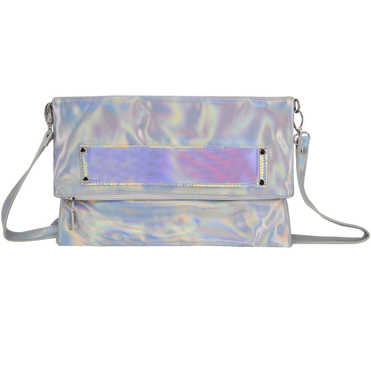Monique Women Mini Holographic PU Leather Clutch Handbag Cross-body Bag Envelope Purse for Shopping Party Travel Silver