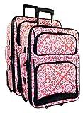 Ever Moda Damask 2 Piece Luggage Set (Coral Pink)
