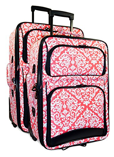 Ever Moda Damask 2 Piece Luggage Set (Coral Pink) by Ever Moda