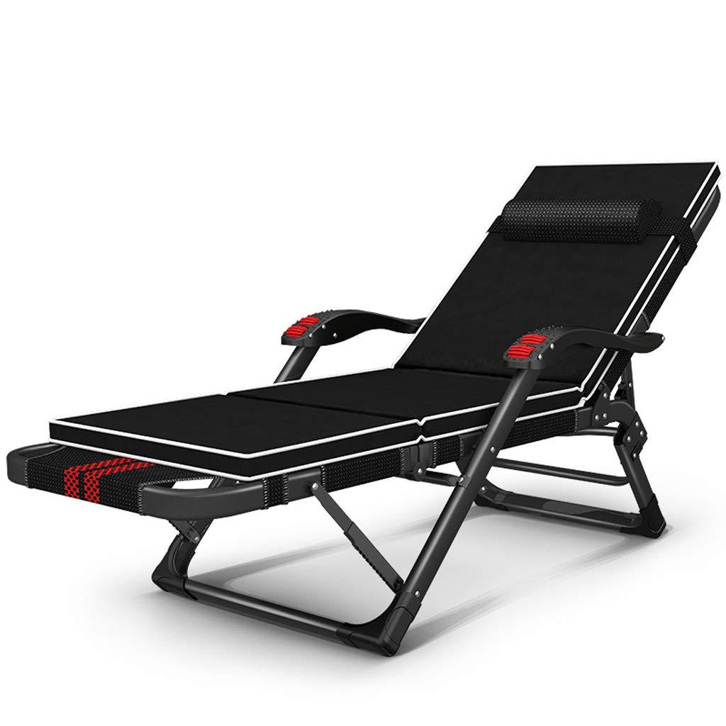 Sillón reclinable Plegable Nap Cama Multifuncional Silla para Adultos Beach Home portátil Silla Negrita 40  20 Tubo Plano ( Color : Plus Pad )