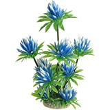 uxcell Aquarium Fish Tank Plastic Water Lily Plant Decor, 10-Inch, Sky Blue Green
