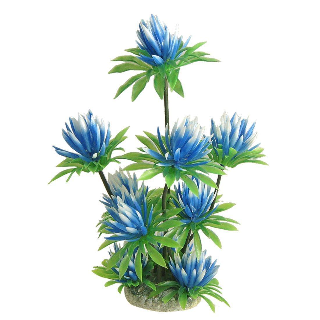 Aquarium Fish Tank Plastic Water Lily Plant Decor Sky bluee Green 10